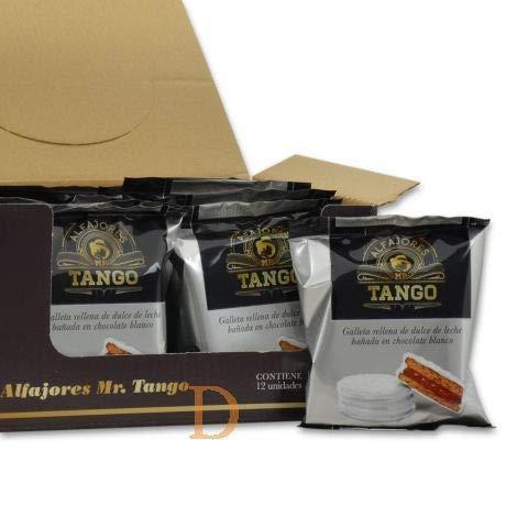 Tango- Alfajor de Chocolate Blanco- Galleta rellena de Dulce de Leche Bañada en Chocolate Blanco- Producto Argentino-Caja de 12 unidades - 660 gramos