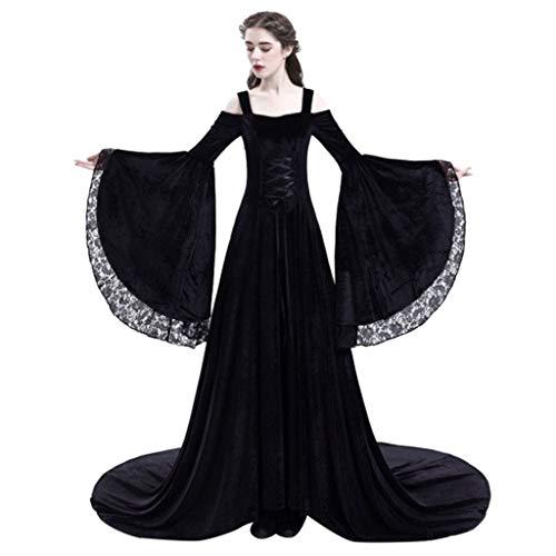 Damen Sexy Langarm Mittelalter Party Viktorianischen Königin Kleider Gothic Jahrgang Prinzessin Renaissance Bodenlänge Maxikleid Karneval Fasching Fasnacht Cosplay Kleid