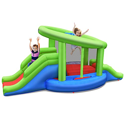 COSTWAY Kids Bouncy Castle, Inflatable Jumper House with Double Slides, Basketball Hoop, Climbing Wall and Jumping Area for Indoor Outdoor (4 x 2 x 2m)