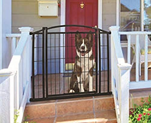 Carlson Pet Products 460 Outdoor Walk-Thru Gate with Small Pet Door, 33.25 by 29-43', Black