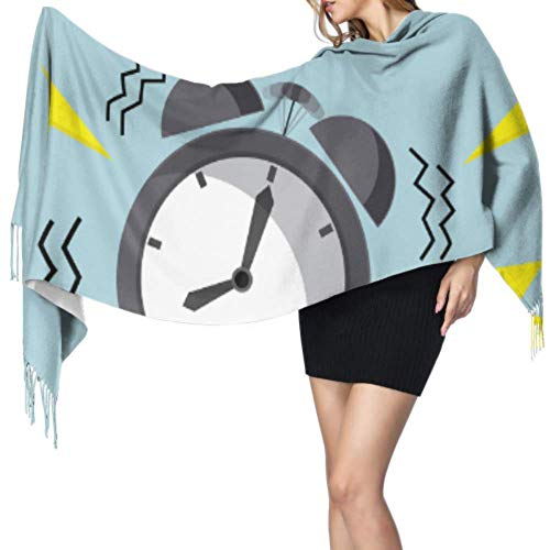 Jingliwang Bufandas Abrigo Chal Alarm Clock Wake-up Time Soft Cashmere Scarfs For Women Cute Scarf Print Shawl Wrap 77x27inch/196x68cm Large Soft Pashmina Extra Warm
