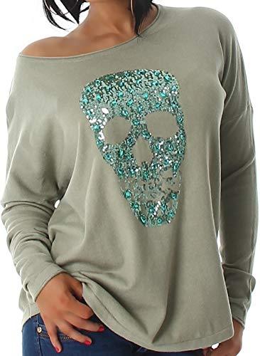 Voyelles Jela London Damen Totenkopf Pullover Glitzer Sweatshirt Skull Sweater Longsleeve Stretch Pulli Oversize Feinstrick, 34 36 38 Oliv-Grün