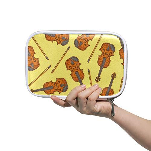 Farbige Federmäppchen für Erwachsene Nahtlose Vektor Holz Geige Geige Herren Körperpflegetasche Kleine große Make-up Tasche Multifunktionale Toilettenartikel Reisetasche für Frauen Für Männer Frauen