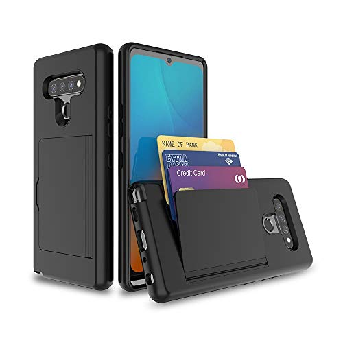 Leeyan for LG Stylo 6 Case,Dual Layer Smooth Hard Back Cover Soft Inner Wallet Pocket Credit Card ID Protective Case for LG Stylo 6 (Black)