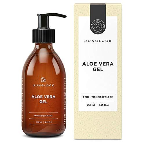 Aloe Vera Gel aus 95% Bio Aloe Vera 250 ml I Junglück Aloe Vera Feuchtigkeitspflege für gesunde, schöne Haut und bei Sonnenbrand | Vegane Naturkosmetik Made in Germany