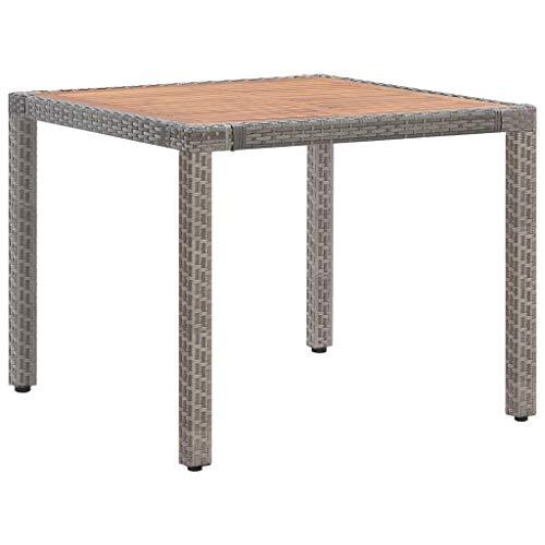 vidaXL Akazienholz Massiv Gartentisch Witterungsbeständig Terrassentisch Esstisch Balkontisch Holztisch Tisch Gartenmöbel Grau 90x90x75cm Poly Rattan