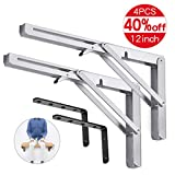 king do way Folding Shelf Brackets 12' with L Bracket 5'x 3' Heavy Duty Stainless Steel Collapsible Wall Mounted Shelf Bracket, Max Load 330lb, Space Saving for DIY Table Work Bench 4Pcs