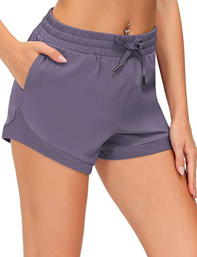 Loovoo Women's Sweat Shorts Lightweight Exercise Shorts Cozy Lounge Shorts Sports Workout Shorts with Pockets Lavender Gray
