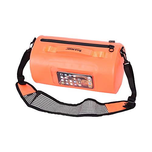 WILD HEART 15L Swimming Waterproof Bag surf Bag Floating Bag Breathable Shoulder Strap Airtight Zipper Orange