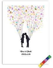 4 Tipos Árbol de Huellas Digital de la Boda,6 Colores Tintas de Árbol para Huella, Libro de visitas para la Boda (Color : TYPE4#)