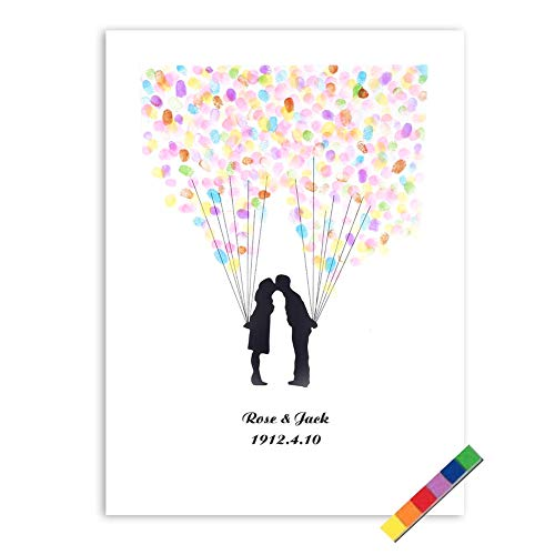 Yosoo 4 Arten Fingerabdruck Baum Hochzeits Gästebuch Hochzeits Gästebuch Plakat mit 6 Farben Tinte (Farbe : TYPE4#)