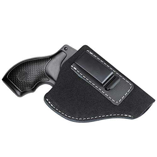 Kosibate IWB Leather Holster, Fits Most J Frame Revolvers - Ruger SP101 LCR / Smith and Wesson Bodyguard / Taurus 50 85 / Charter Arms & Most .38 Special Type