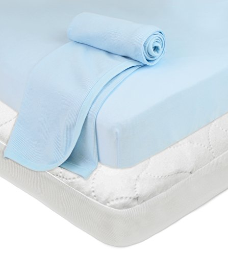 Why Choose American Baby Company Playard Bundle Mattress Pad Cover, Fitted Sheet, Muslin Swaddle B...