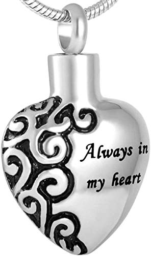 OPPJB Collar De Cenizas Y Corazónsiempre En Mi Corazón Colgante De Cenizas Conmemorativas De Acero Inoxidable Joyas De Cremación para Colgante De Cenizas