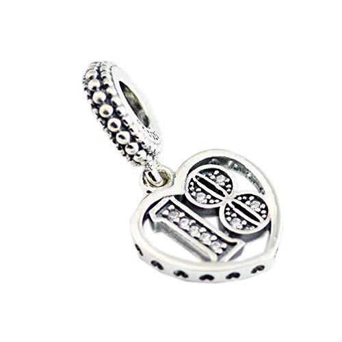 LIIHVYI Pandora Charms para Mujeres Cuentas Plata De Ley 925 Years of Love Dangle Clear Brand Colgante Cumpleaños Compatible con Pulseras Europeos Collars