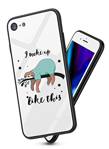 Alsoar Cover Compatibile per iPhone 6S Plus Cover,Custodia Protettiv in Bianco Vetro Temperato e Nero Silicone con iPhone 6 Plus,Originale Cover Antiurti Paraurti-Non Diventerà Giallo (fulmine)