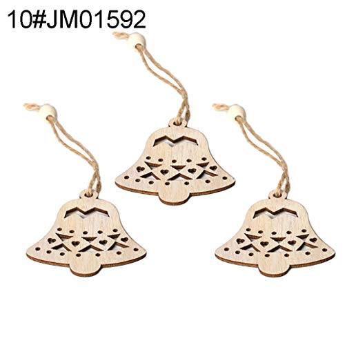 ManFull Wooden 3Pcs Hollow Blank Slices Pendants DIY Crafts Christmas Ornaments Decorations for Home,Christmas Tree,Party,Hanging Pendant Decorations Gift