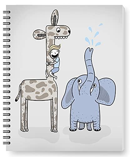 DianPrints Cuaderno/Diario Rayado - Diario Rayado, 5'X 8', Encuadernación Con Alambre Con Papel De Primera Calidad, Niño Jugando Con Patrón De Jirafas Y Elefantes, Cuaderno Espiral Universitario