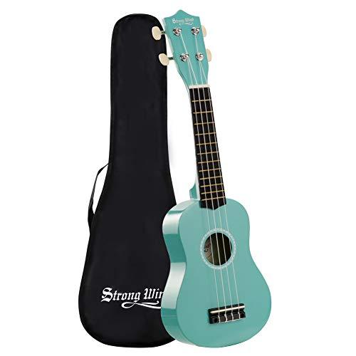 Ukulele soprano 21 pollici legno 4 corde strumento ukulele hawaiano con borsa per bambini studenti amici principianti e adulti (azzurro)