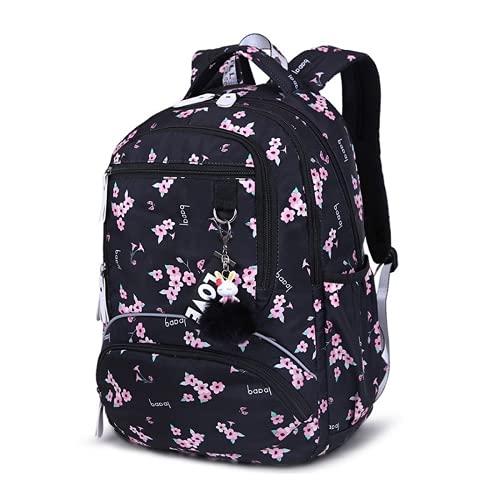 Mochila escolar para niñas Mochila escolar impermeable para estudiantes Flor linda Mochila escolar para la espalda Regalo para niñas (3,45 * 31 * 16cm)