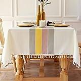 Qucover Quaste Tischdecke abwaschbare Rosa Gelb Rechteckige 140x180 Tischwäsche Baumwolle und Leinen Tischtuch für Home Küche Dekoration (Rosa Gelb,140 x180 cm)
