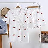 Photo de Gxdsya Nouveau Dames Solide Couleur À Manches Courtes + Short Coton Double Gaze Pyjama Pyjama Costume Costume De Pyjama De Grande Taille