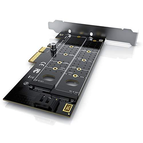 CSL - PCIe Erweiterungskarte - M.2 SATA III und M.2 PCIe zu SATA III und PCIe-3.0 X4 - Dual Adapterkarte - unterstützt SATA B&M-Key und PCIe M-Key - Max.Geschwindigkeit: 3938 Mbyte/s lesend/schreibend