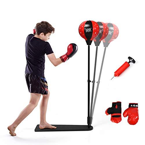RELAX4LIFE Punchingball mit rutschfestem Fußpedal, Standboxball 85-130 cm höhenverstallbar, Boxset freistehend, Aufblasbarer Boxball mit Boxhandschuhen & Pumpe, Boxsack Set für Kinder & Erwachsene
