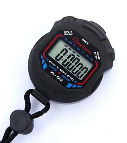Coollooda Digitale Sport Stoppuhr Handheld LCD Chronograph Timer Zähler Stoppuhr Alarm Black