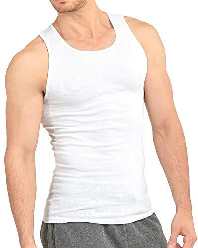 Knocker Men's 3 Tank Top Undershirts A-Shirt-XL-3 White
