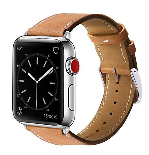 Marge Plus Compatible Marge Plus Compatible with Apple Watch Band 42mm 44mm, Genuine Leather Replacement Band Compatible with Apple Watch SE Series 6 5 4 (44mm) Series 3 2 1 (42mm), Brown Band/Silver Adapter