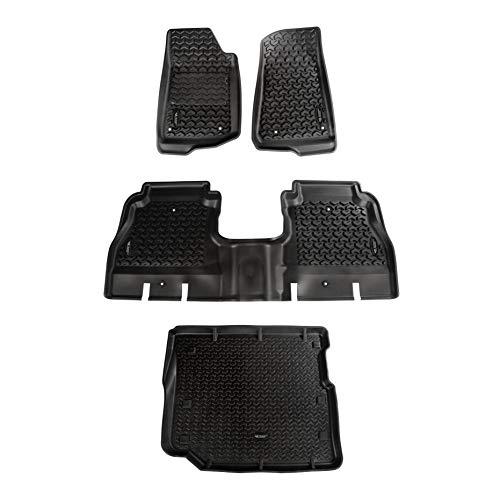 Rugged Ridge 12988.05, All Terrain Floor Liner Kit, Front/Rear/Cargo, Black, 2018-current Jeep Wrangler JL 4 Dr