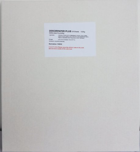 Bramacartuchos - Una caja de 25 laminas de papel Decor Paper Plus en A4, tamaño A4 (210×290 mm) Ideal para usar con tinta comestible