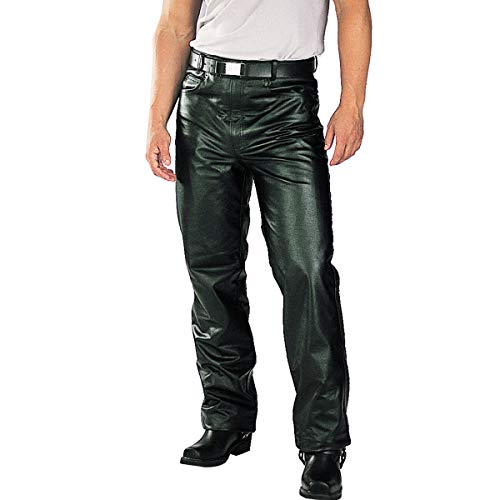 Xelement B7400 'Classic' Black Men's Fitted Leather Pants - 34