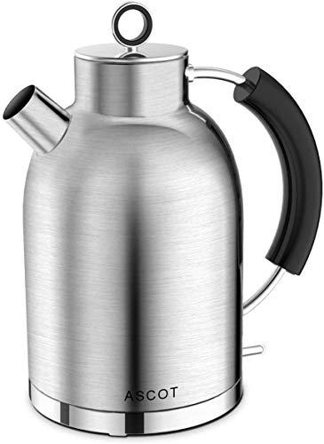 Wasserkocher Edelstahl, ASCOT 1.6 Liter Elektrischer Wasserkocher, BPA frei, Schnurlos mit 2200 Watt, Automatisch Abschaltung, Retro Design Kleiner Reisewasserkocher, Kompakter Teekocher-Matte
