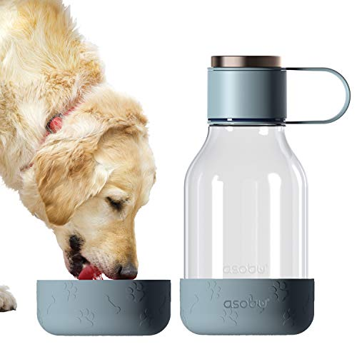 asobu Tritan Water Bottle with Dog Bowl Attached 50 Ounces (Blue)