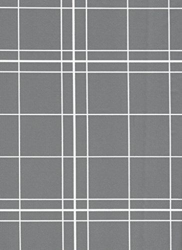 BRODER MFG. INC. White Lines Flannel Backed Vinyl Tablecloth - Gray, 52x90 Oblong (Rectangle) | Perfect for Picnics, Barbeques, Parties, Camping, Special Occasions, Gatherings, and Everyday Use