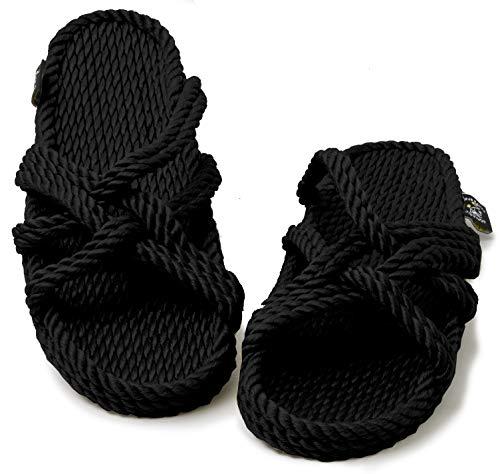 Nomadics Slip On Sandales unisexe en corde pour adulte Noir - Noir - Noir , 41 EU