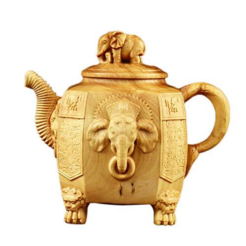 HGKJHK Boxwood Elephant God Tea Kettle Hand-held Kettle Collection of Art Gifts-Elephant Trunk Kettle