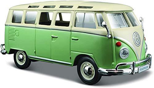 Maisto VW Bus Samba: Originalgetreues Modellauto VW T1 mit Vordertür zum Öffnen, Maßstab 1:25, Fertigmodell, rot-weiß (531956)