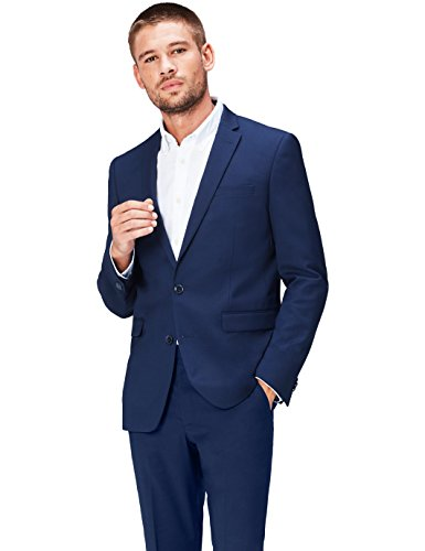 Marchio Amazon - find. Giacca Slim Fit Uomo, Blu (Navy 200), 50R, Label: 40R