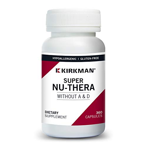 Kirkman Super Nu-Thera® w/o Vitamins A and D - Hypoallergenic || 360 Vegetarian Capsules || Multi Vitamin || Provides high Vitamin B-6 and Magnesium Content || Gluten and Casein Free