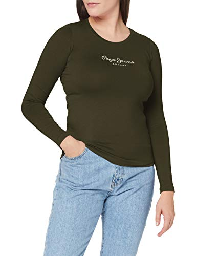 Pepe Jeans New Virginia LS Camiseta, Verde (682), Small para Mujer