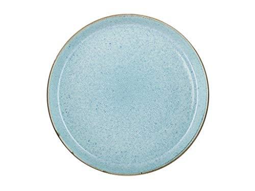 BITZ Teller, Speiseteller, Essteller aus Steinzeug, 27 cm im Durchmesser, grau/hellblau