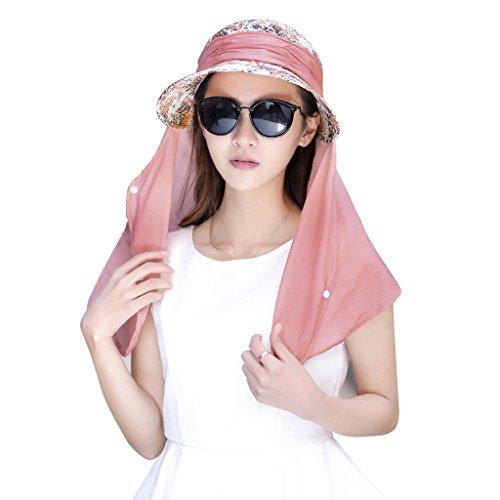 Damen Outdoor Sonnenhut Schirmmütze Faltbarer Sommerhut mit Nackenschutz Sonnenschutz UPF 50+ Schnell Trocken Fischer Kappe Angel Mütze Anti Mücken Biene