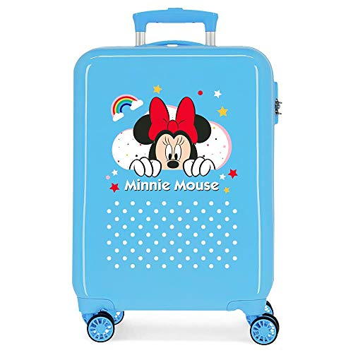 Disney Minnie Rainbow Cabin Suitcase Blue 37 x 55 x 20 cm Rigid ABS Side Combination Closure 34L 2.6 kg 4 Double Wheels Hand Luggage