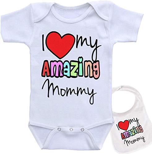 I Love My Amazing Mommy - Cute Novelty Baby Bodysuit Onesie & bib Set (5 Colors) White