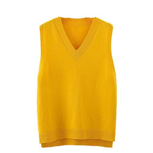 Autunno donna maglia maglia gilet maglione maglione maglione pullover gilet Giallo L