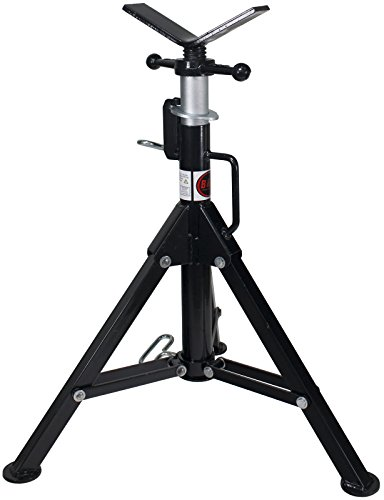 B&B Pipe 3900 High-Profile Adjustable Pipe Jack Stand with V-Head and Folding Legs for Pipe Fitting Threading Welding