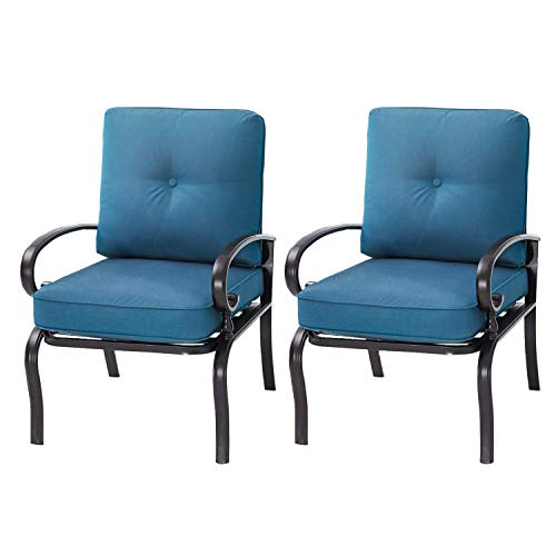 Incbruce Outdoor Indoor Patio Furniture Bistro Dining Chairs Set of 2 Wrought Iron Club Chairs, All-Weather Garden Seating Chair (Peacock Blue)